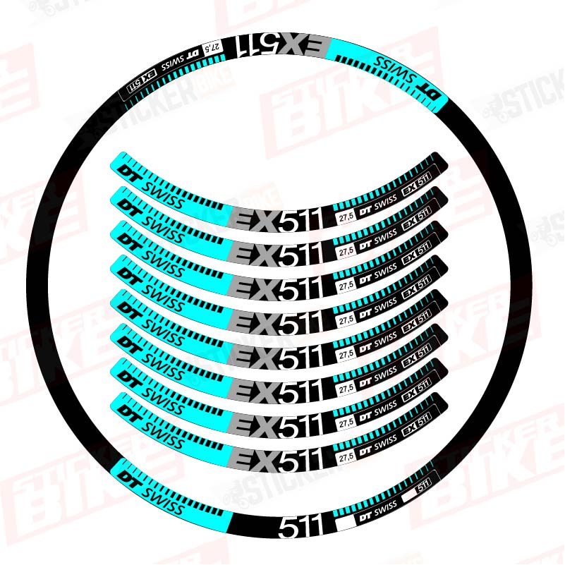 Sticker llantas DT Swiss EX 511 celeste